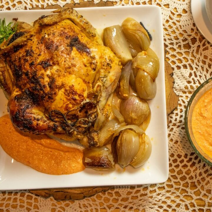 ROASTED CHICKEN WITH SHALLOTS & RED PEPPER SAUCE