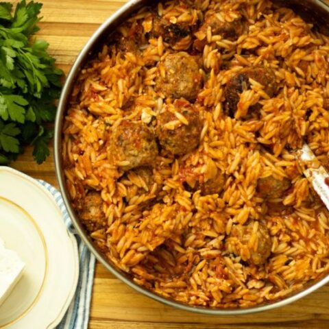 KEFTEDES YOUVETSI: ONE-PAN BAKED MEATBALLS & ORZO