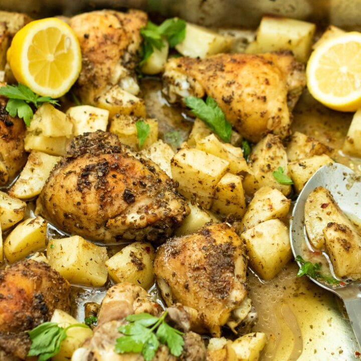 ONE PAN GREEK-STYLE ROASTED CHICKEN & POTATOES