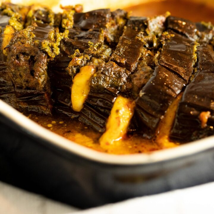 Hasselback Eggplant Baked with Halloumi Cheese & Spinach Pesto