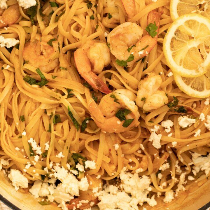 Garidomakaronada: One-Pot Shrimp & Pasta -Greek Style