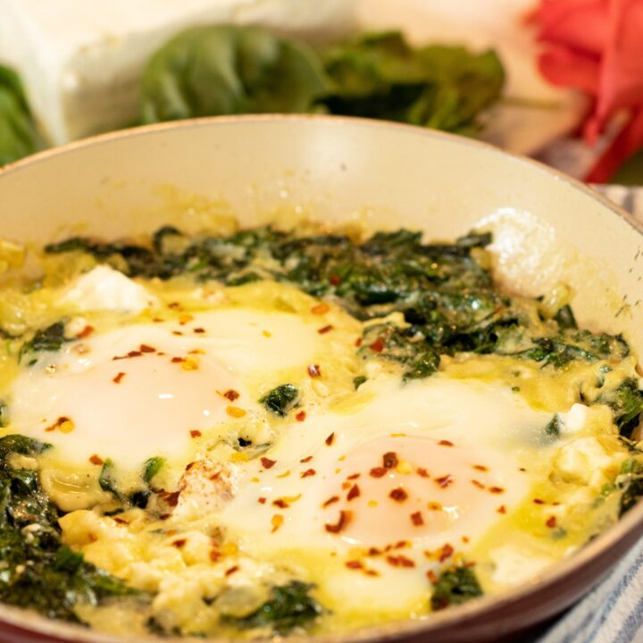 Low-Carb Green Eggs, No Ham: Creamy Spinach with Feta & Eggs