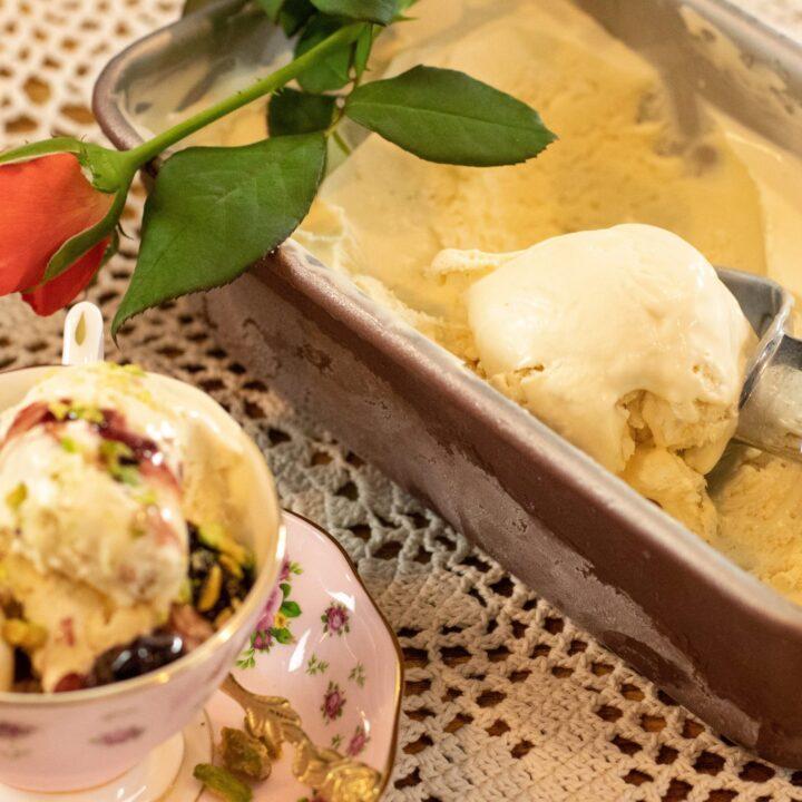 Mastiha & Rose No-Churn Ice Cream