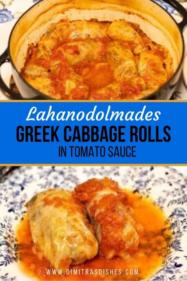 Easy and healthy Greek cabbage rolls (Lahanodolmades) in delicious tomato sauce
