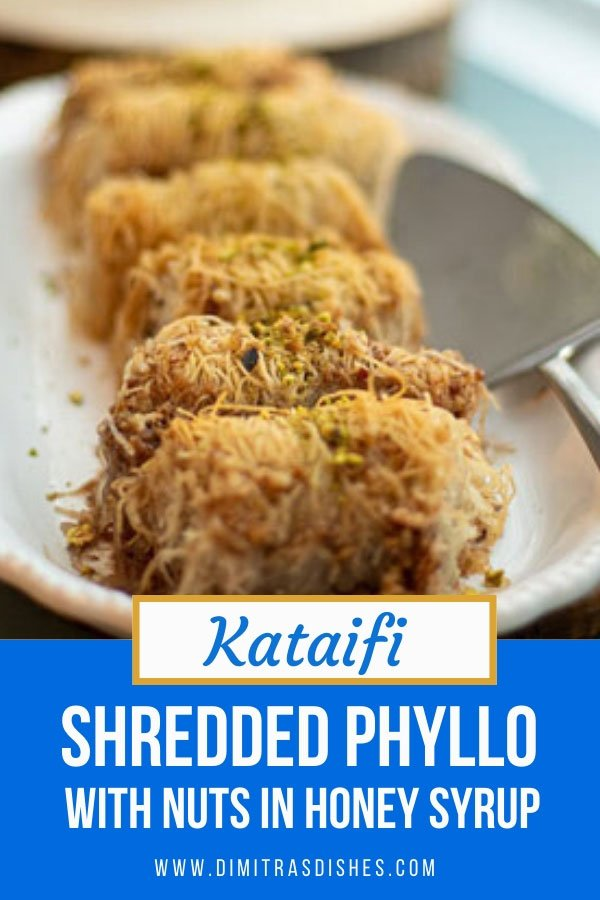 Greek Dessert Kataifi - shredded phyllo with nuts in honey syrup