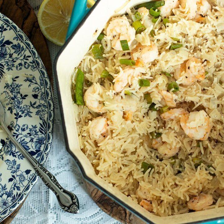 30-Minute Lemony Shrimp & Rice Pilaf