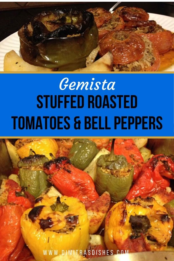 Easy and healthy Greek-style roasted tomatoes and bell peppers (Gemista)