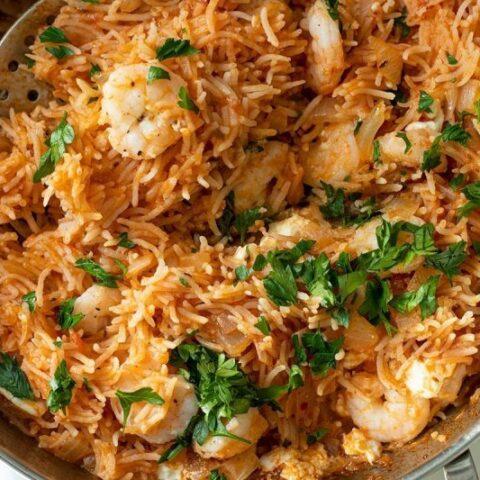 30 Minute Shrimp Saganaki Rice Pilaf