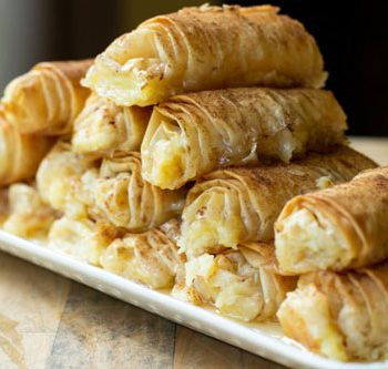 Greek Custard and Phyllo Rolls