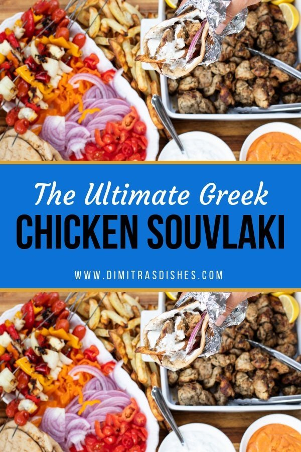 The ultimate Greek chicken souvlaki platter