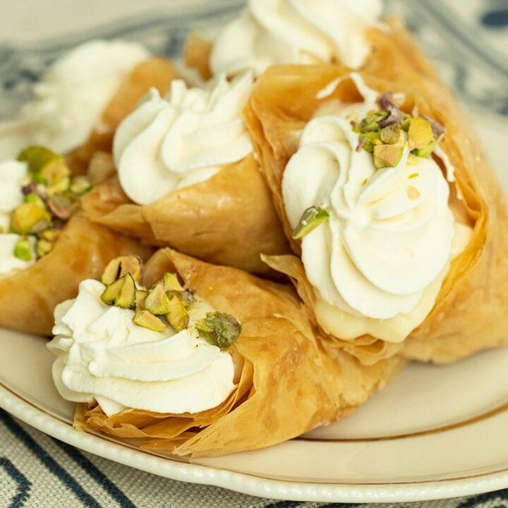 Trigona Panoramatos: Greek Style Cream Filled Phyllo Cones