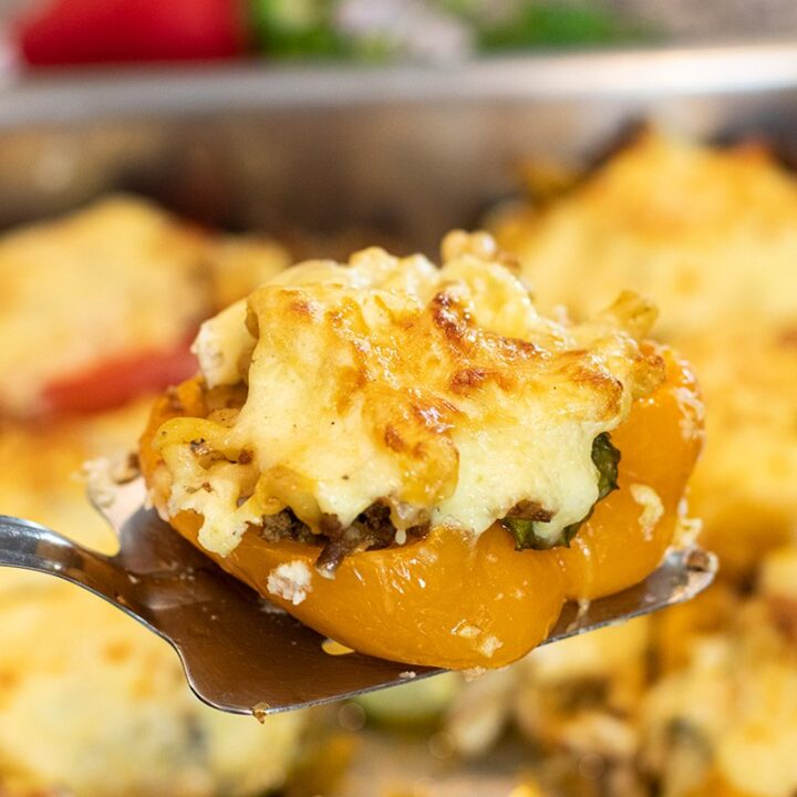 Roasted Peppers & Zucchini Stuffed with Pastitsio