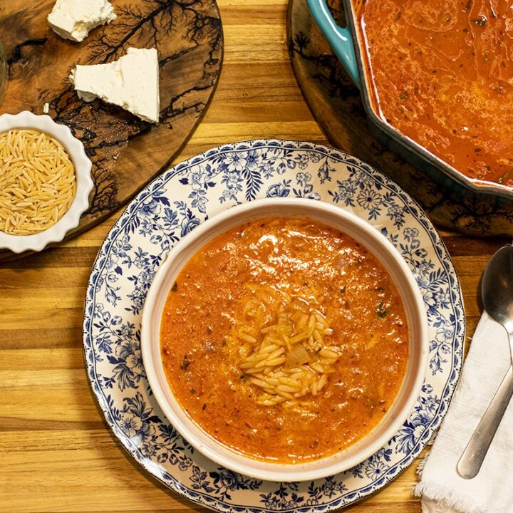 Manestra: Greek Tomato & Orzo Soup