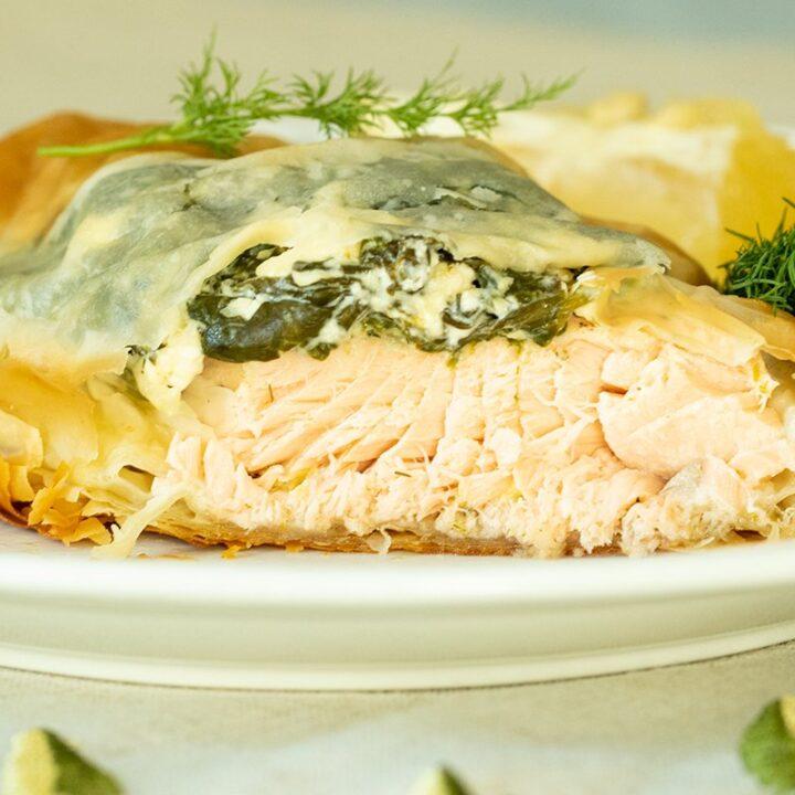Spinach & Salmon Phyllo Parcels: Greek-Spanakopita Salmon