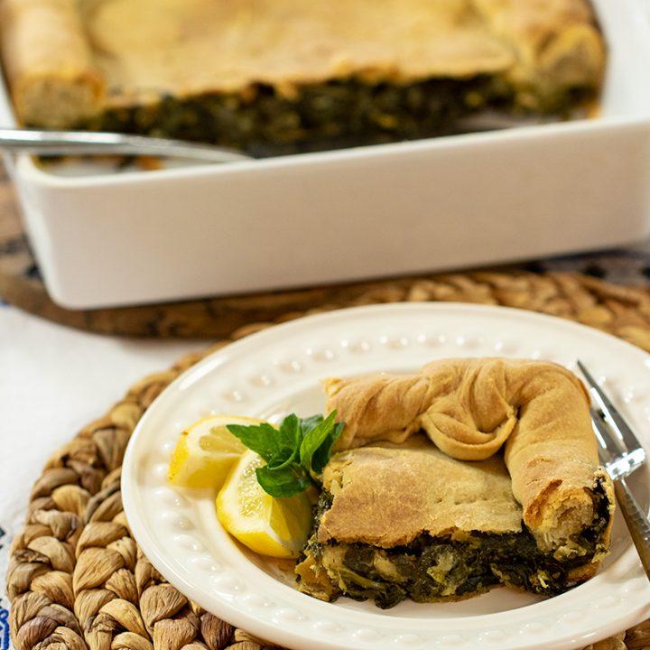 Spanakopita Horiatiki: Greek-Vegan Spinach Pie with Homemade Phyllo Dough