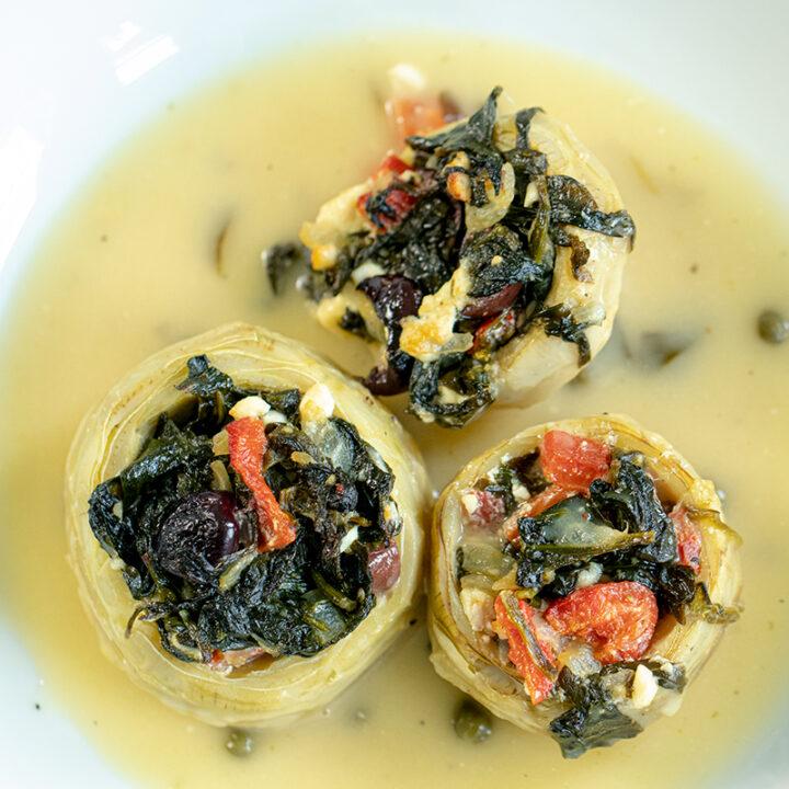 Mediterranean Stuffed Artichoke Bottoms