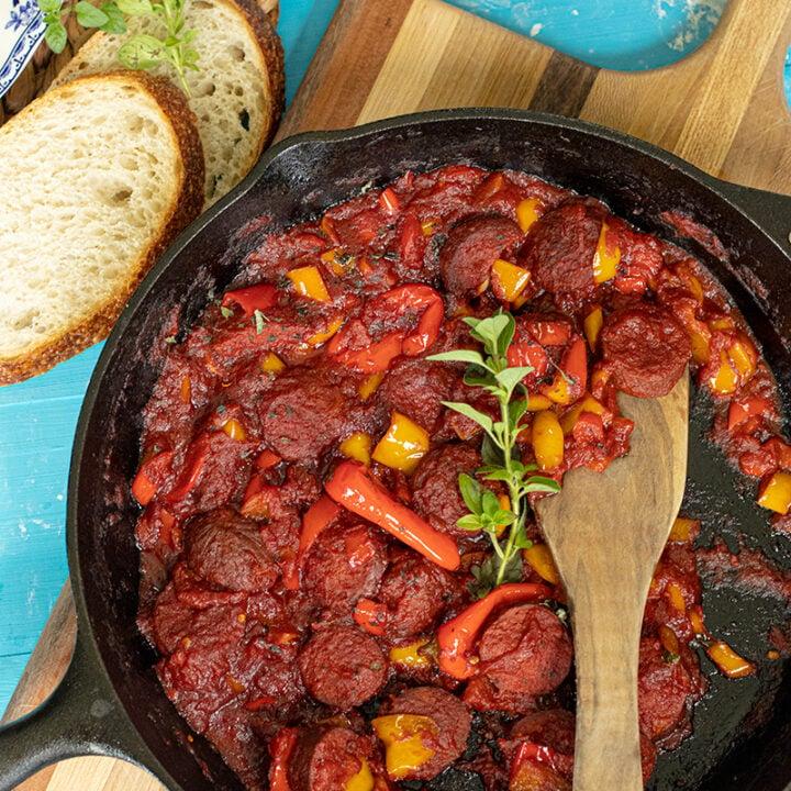 Greek Sausage & Peppers: Spetzofai