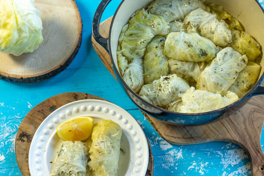 Greek Stuffed Cabbage Rolls Vegetarian Dimitras Dishes