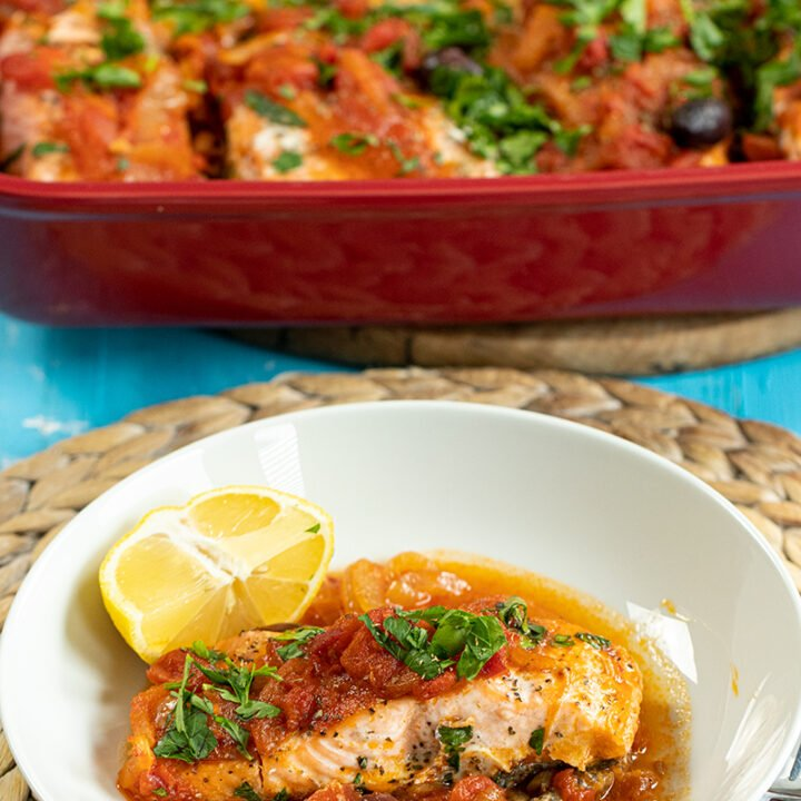 Baked Salmon Plaki: Greek Salmon with Onions and Tomatoes