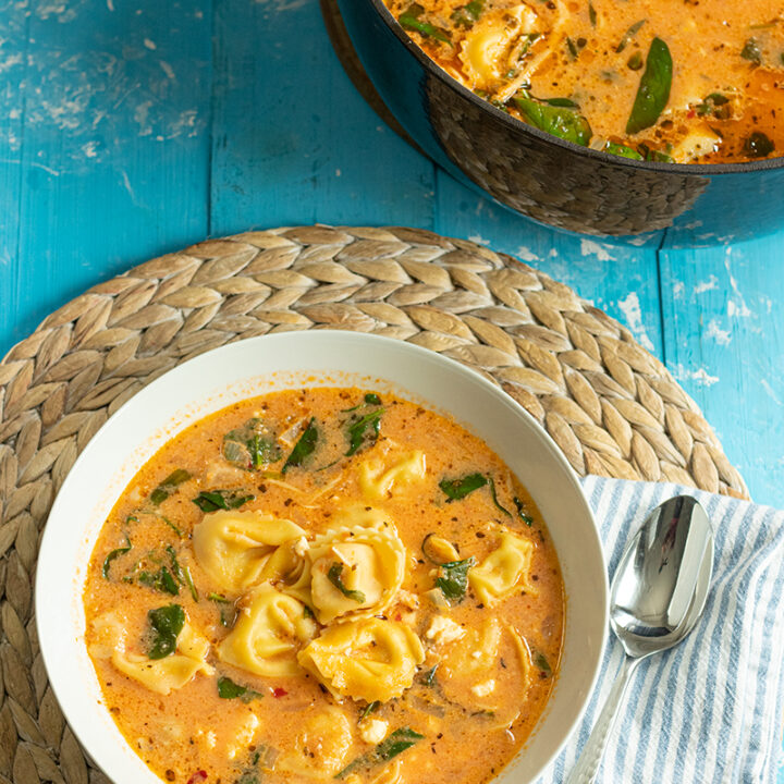 Mediterranean Tortellini Soup with Spinach, Feta, & Chicken. Ready in 30 Mins!!