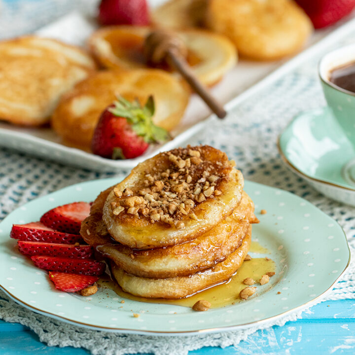 Tiganites: Greek-Style Pancakes with Baklava Nut Topping
