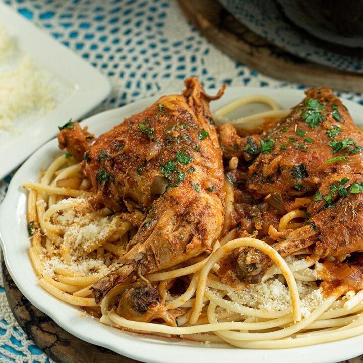 Pastitsada: Corfu Chicken in Tomato Sauce with Pasta